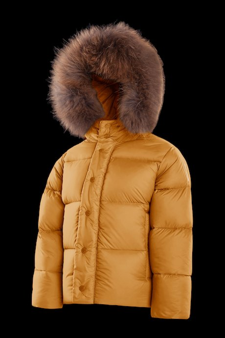 Down jacket with fur inserts