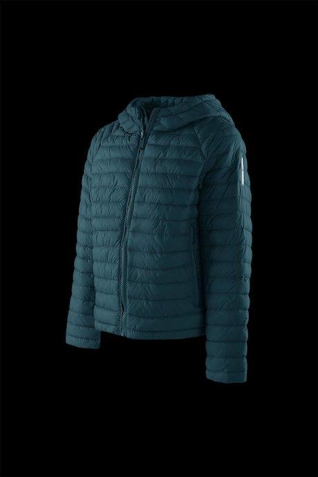 Boys' down jacket in nylon poplin with hood