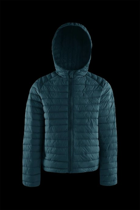 Boys' down jacket in nylon poplin with hood