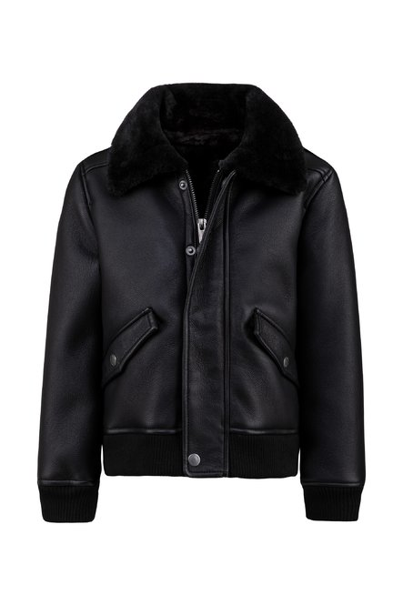 Boys' faux leather jacket shearling effect