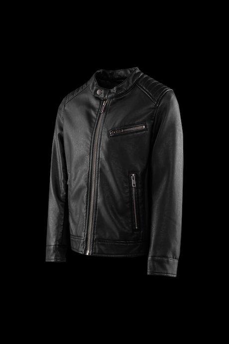 Boys' biker jacket in faux leather