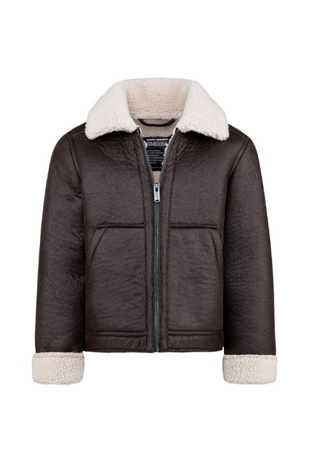 Boys' faux leather jacket shearling effect Union Jack inlay