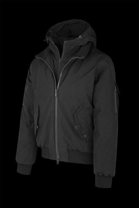 Bomber amovible hood with fur inserts