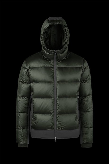 Bi material Down Jacket Printed Logo on Hood