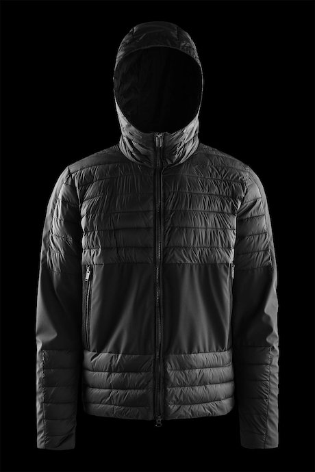 Bi material down jacket with hood