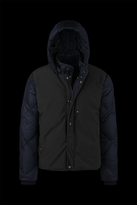 Bi material Down Jacket Detachable Hood
