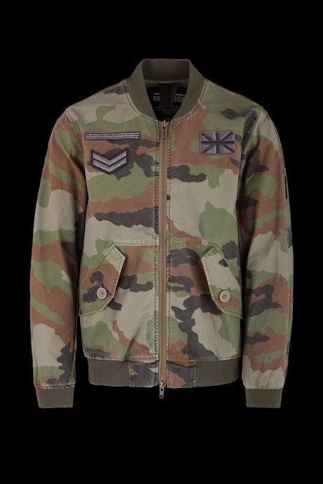 Unlined bomber with patches