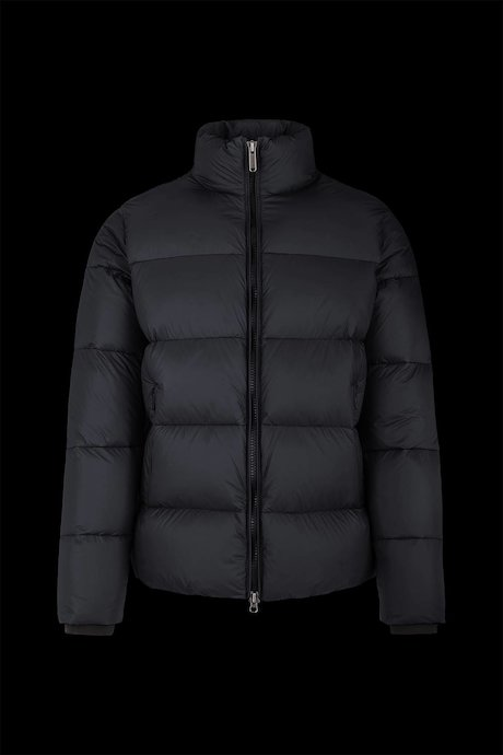 Down jacket in popline nylon high collar
