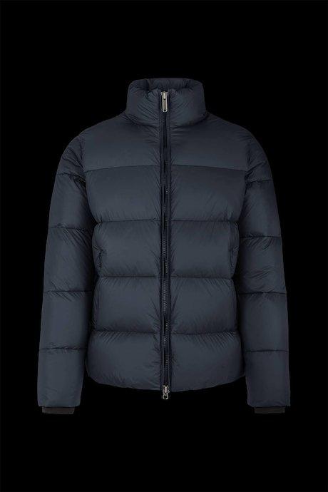 Down jacket in popline nylon high collar