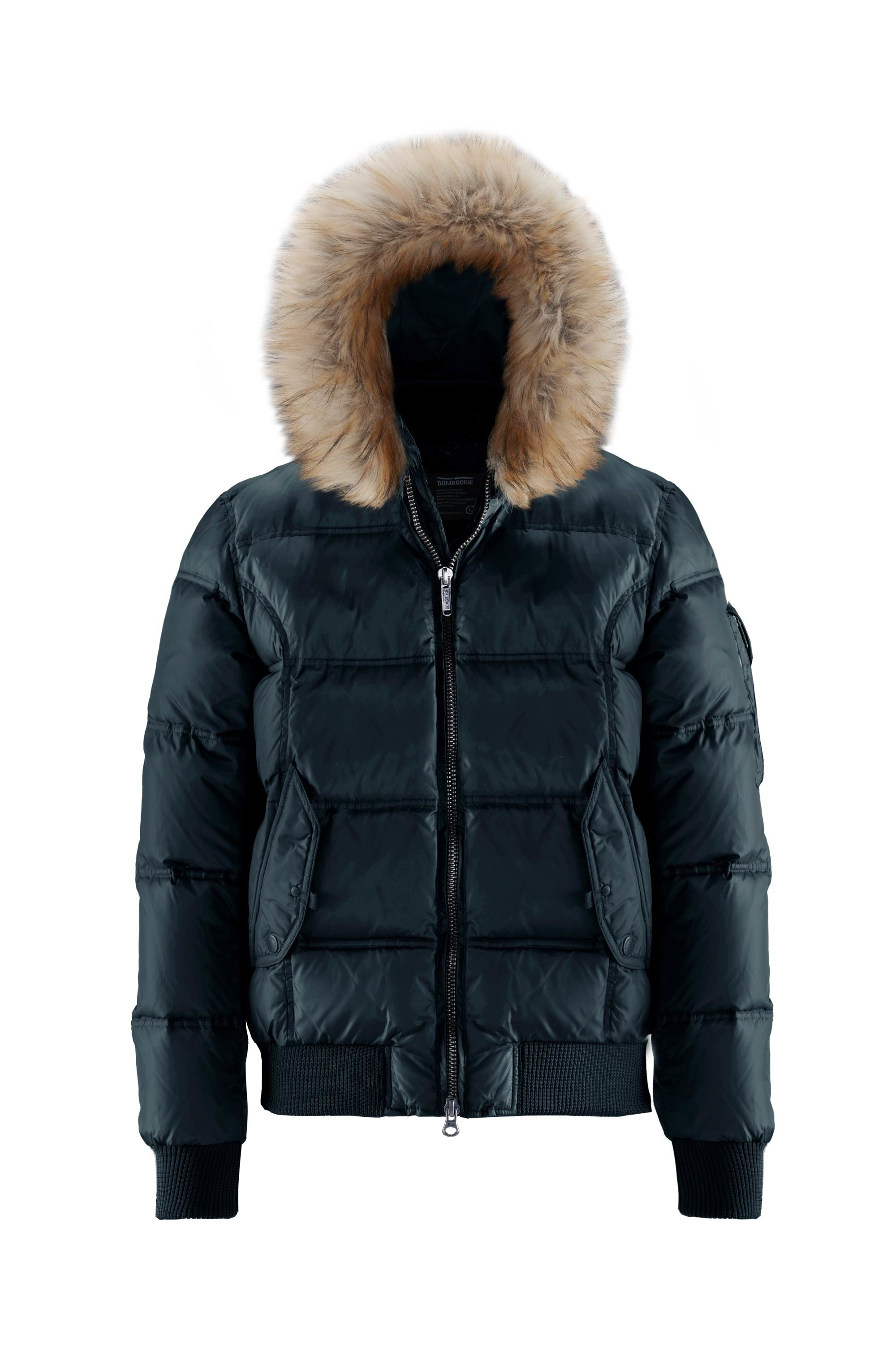 Real down bomber with fake fur hood