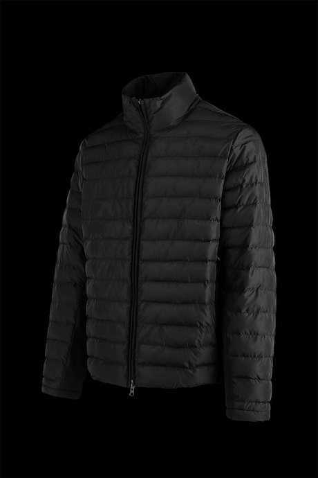 Short bi-material down jacket