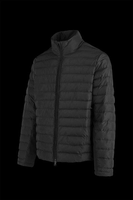 Short bi-material down jacket