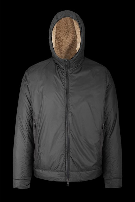 Nylon jacket with sherpa lining