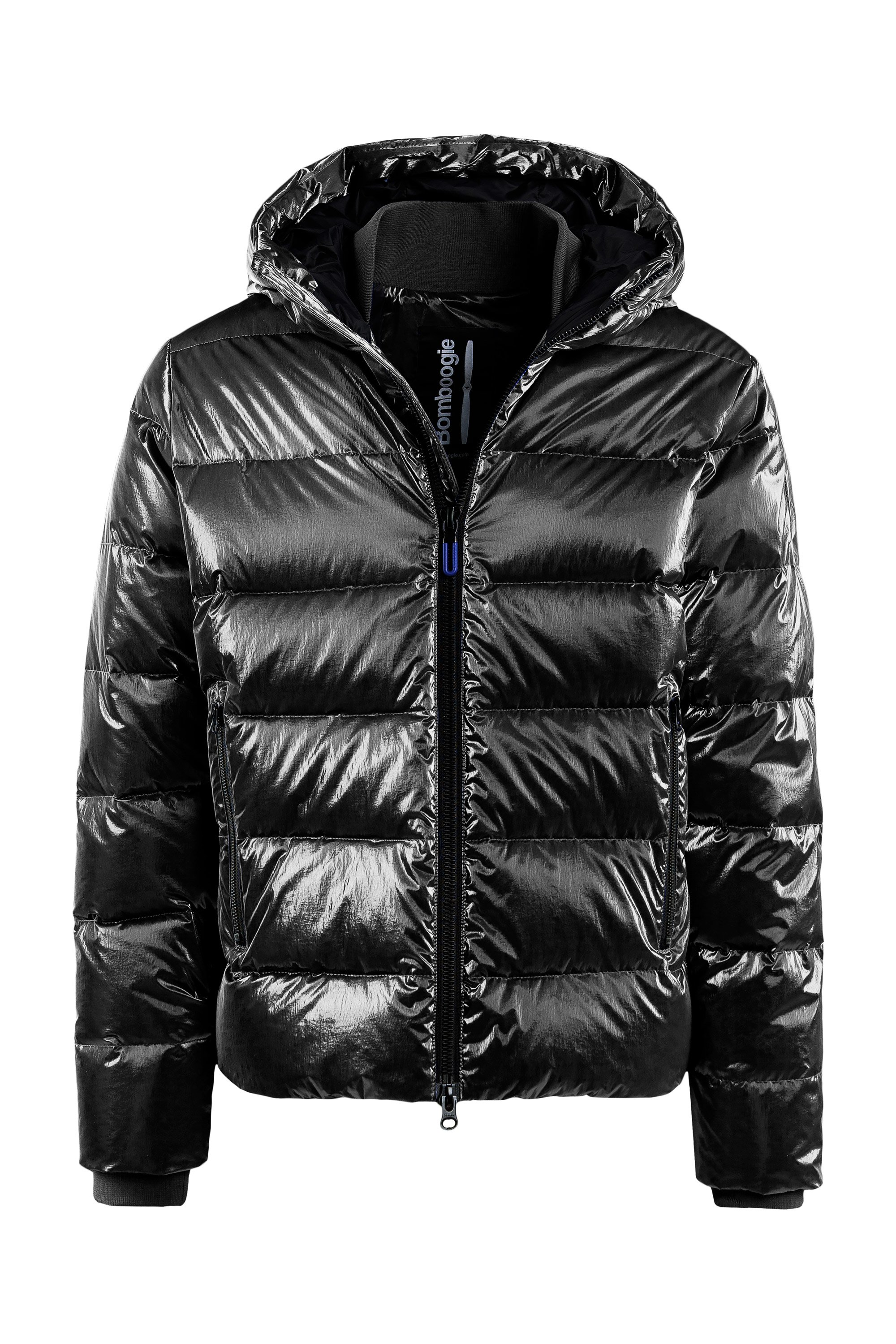 Down jacket metallic nylon