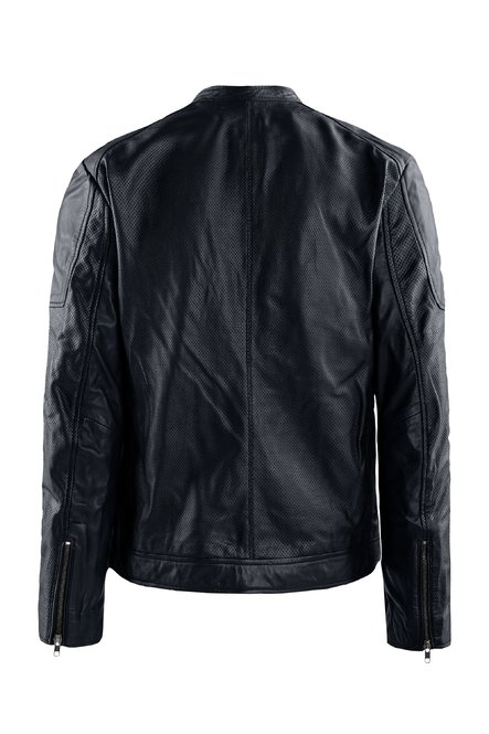 Clan perforated leather jacket