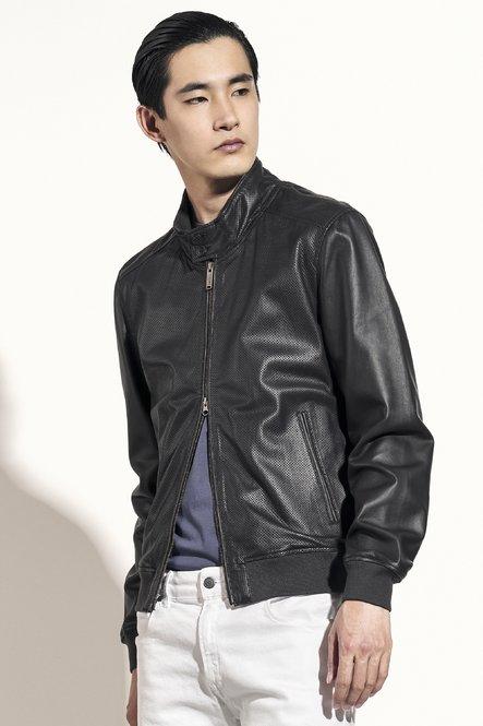 Friz perforated leather jacket