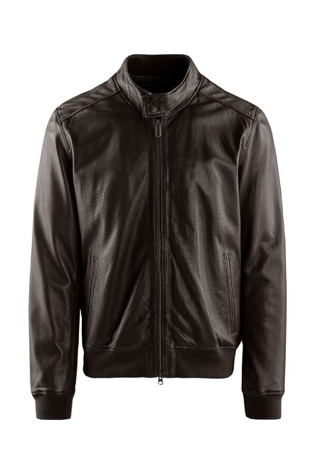 Friz perforated leather jacket