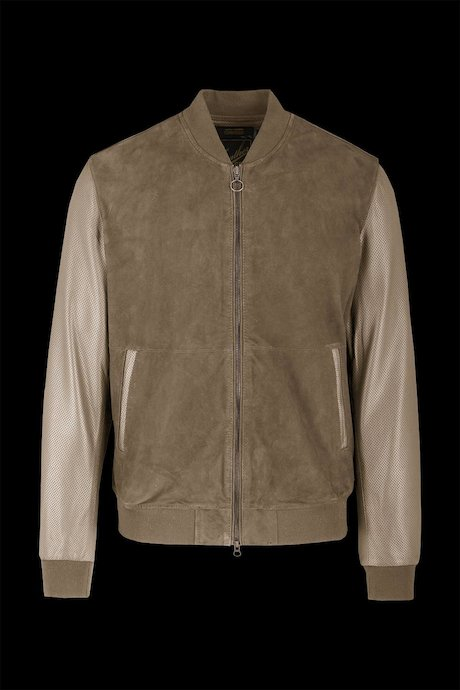 Pierced leather bomber jacket Muth