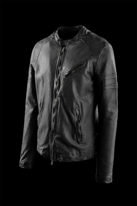 Peer leather jacket garment washed