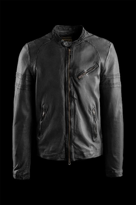 Peer leather jacket garment washed