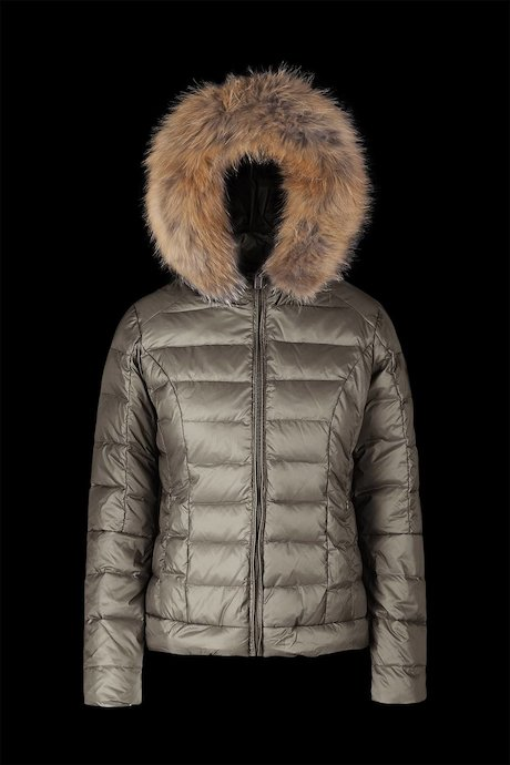 Medium Shiny Down Jacket Fur Iserts
