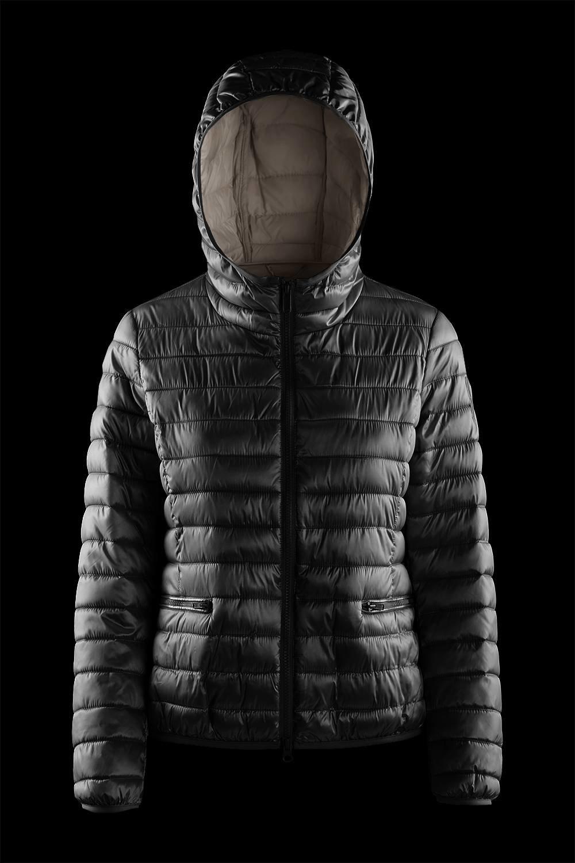 Nylon sateen down jacket with hood