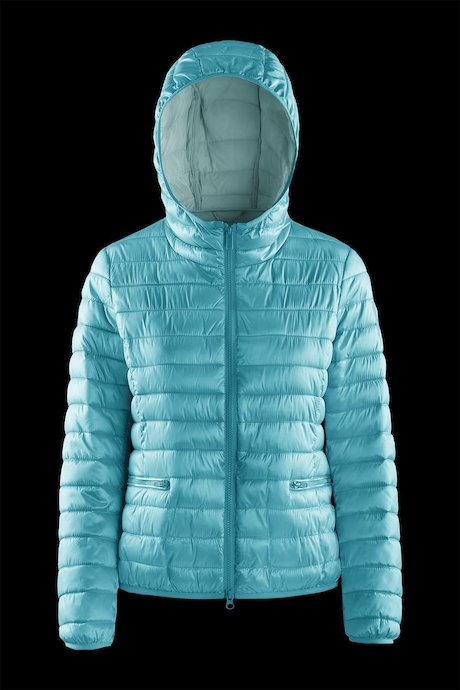 Nylon sateen down jacket with hood