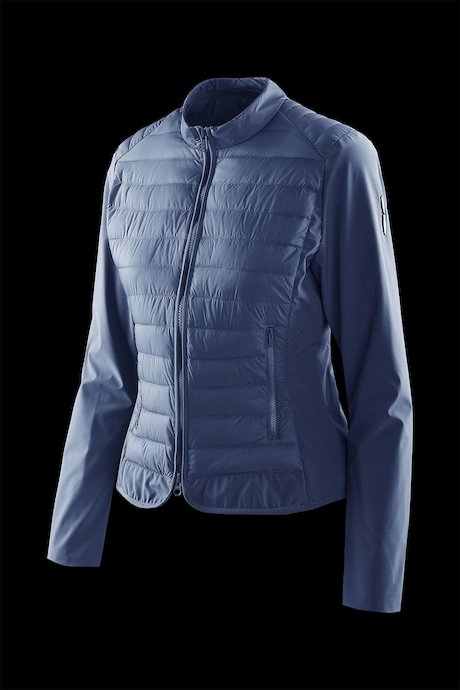 Nylon poplin down jacket with softshell sleeve