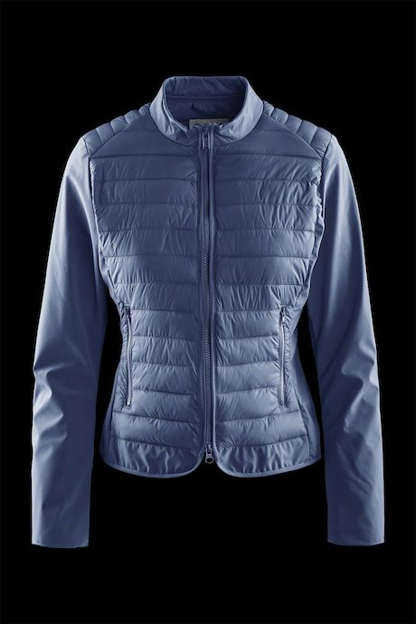 Nylon poplin down jacket with softshell sleeve