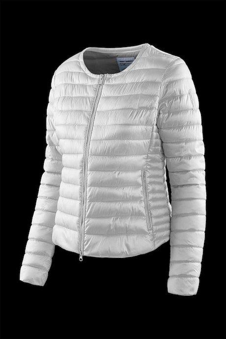 Round collar down jacket in nylon sateen