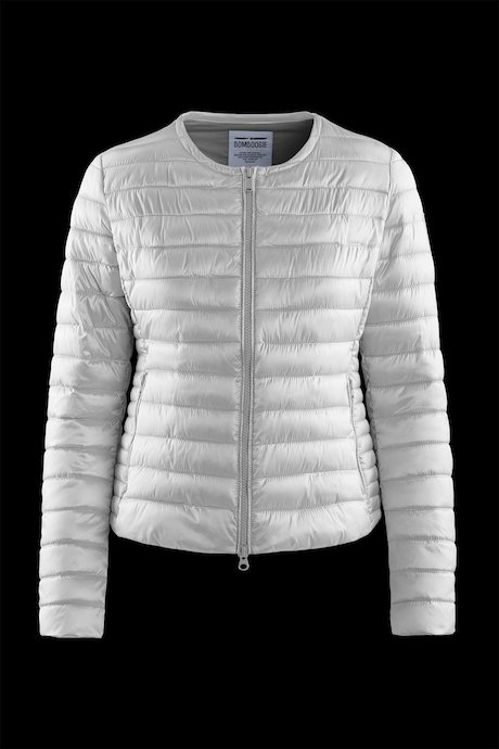 Round collar down jacket in nylon sateen