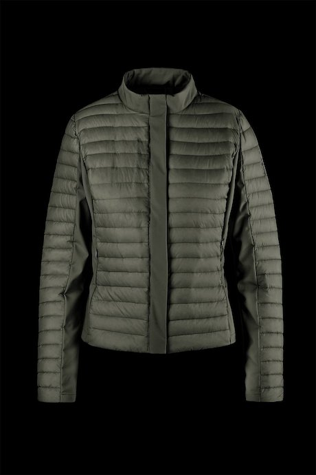 Lightweight bi-material down jacket