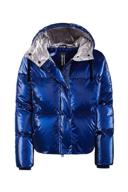 Down jacket with hood metallic nylon