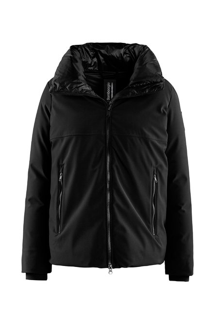 Short bi material down jacket