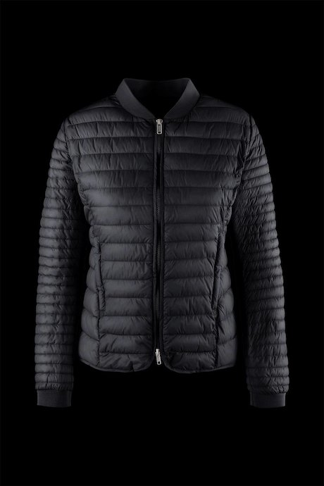 Bi-material down jacket with hood