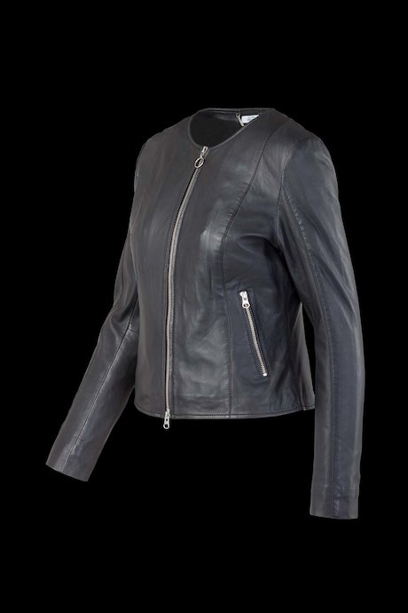 Leather Jacket Round Collar