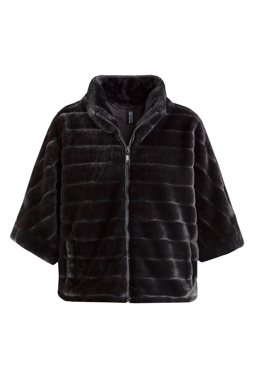 Short faux fur coat 3/4 sleeve