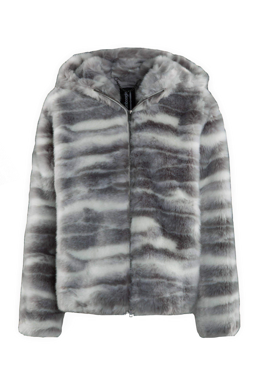 Short printed faux fur coat