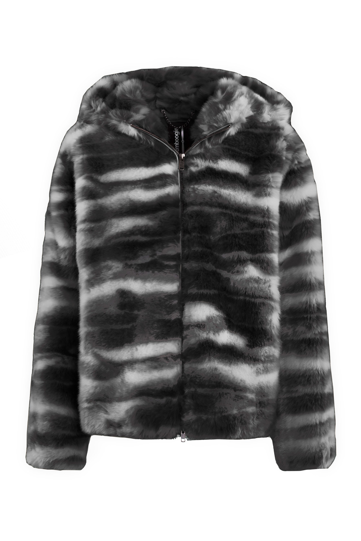 Kurzer Mantel aus bedrucktes Kunstpelz