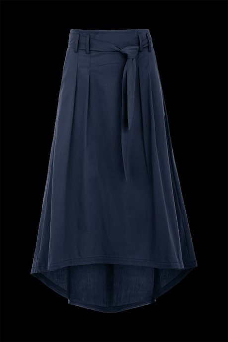 Asymmetric long skirt with sash
