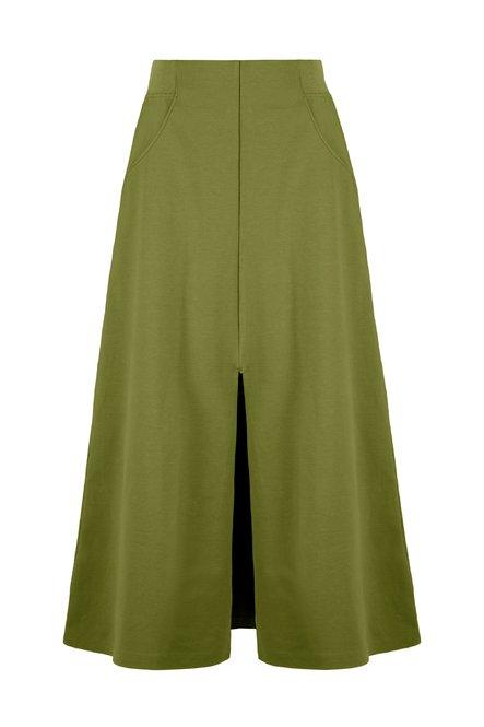 Midi skirt in stretch cotton