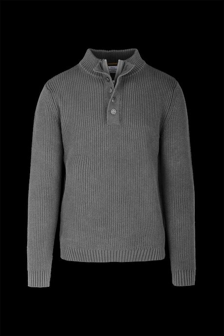 Pull Homme Buttons Collar Coton Teint à Froid