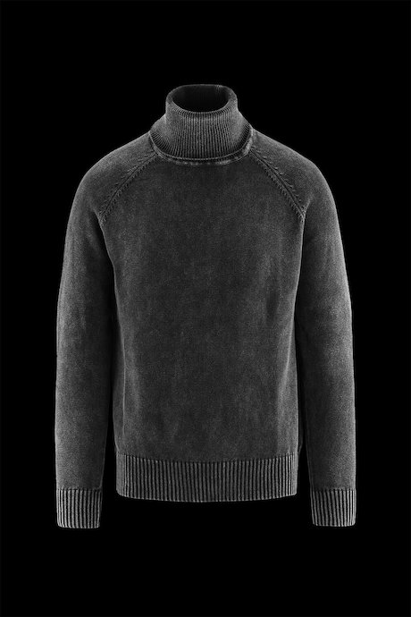 High Collar Sweater Cold Dyed Cotton