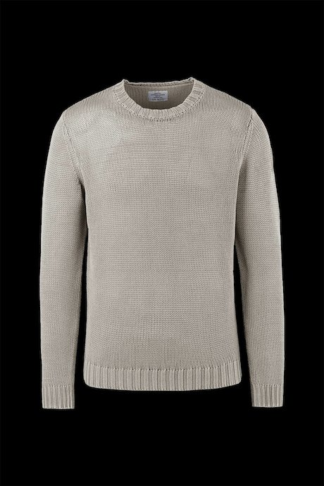 Round collar sweater cold dyed cotton