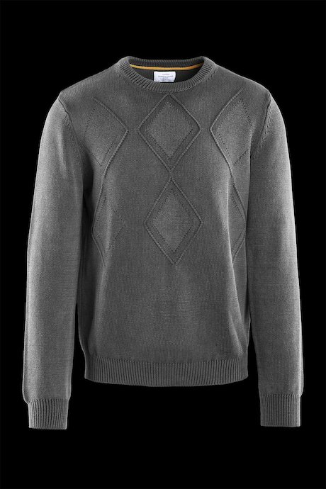Cotton round neck sweater rhombus pattern