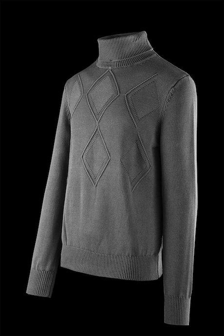 Jersey de cuello alto algodón con rombos