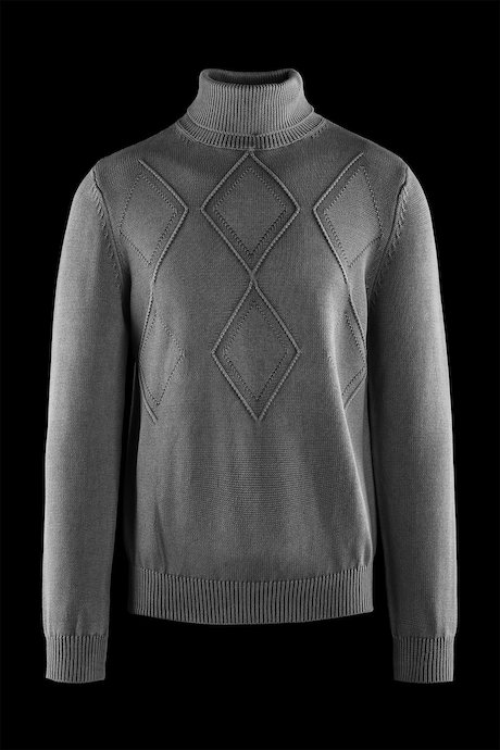 Cotton turtleneck sweater rhombus pattern