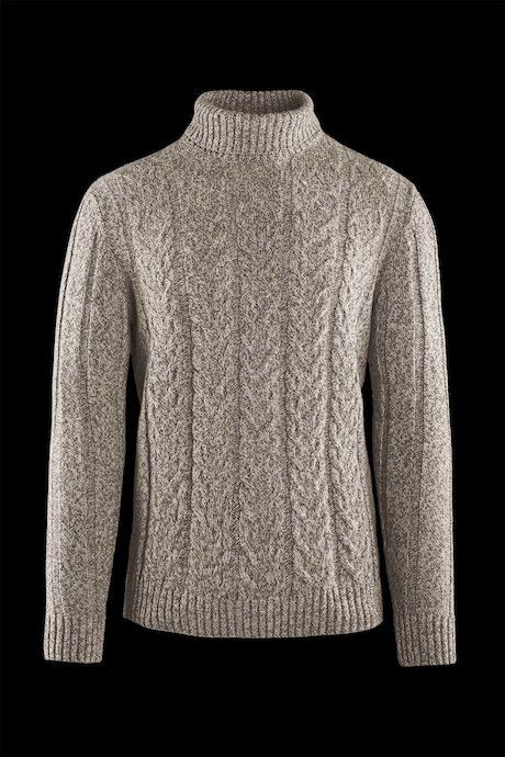 Braided turtleneck sweater wool blend