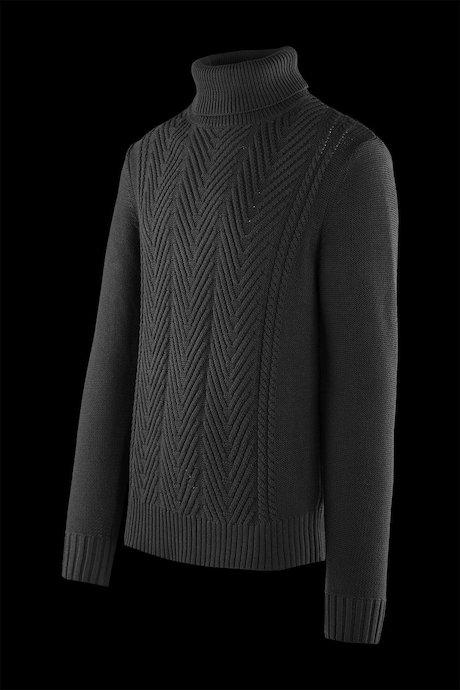 Braided turtleneck sweater cotton blend