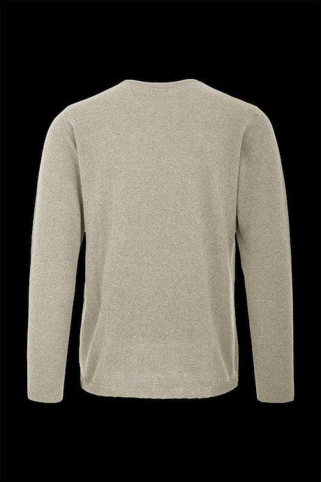 Round collar sweater in cotton-linen